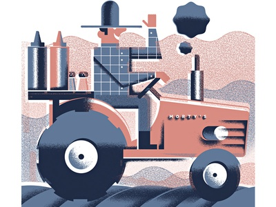 Farmer Morty mortys-cafe farming salt-and-pepper mustard katsup farm tractor farmer illustration