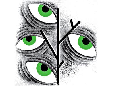 Hellacious Herbs herbs plant drugs hallucinations leaves tree eyeballs eyes makeshift-magazine illustration