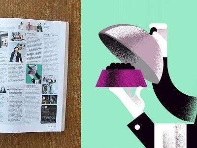 """Monocle 86 - """"Breed Apart"""" magazine dining waiter fancy monocle-magazine monocle editorial-illustration dog-food"""