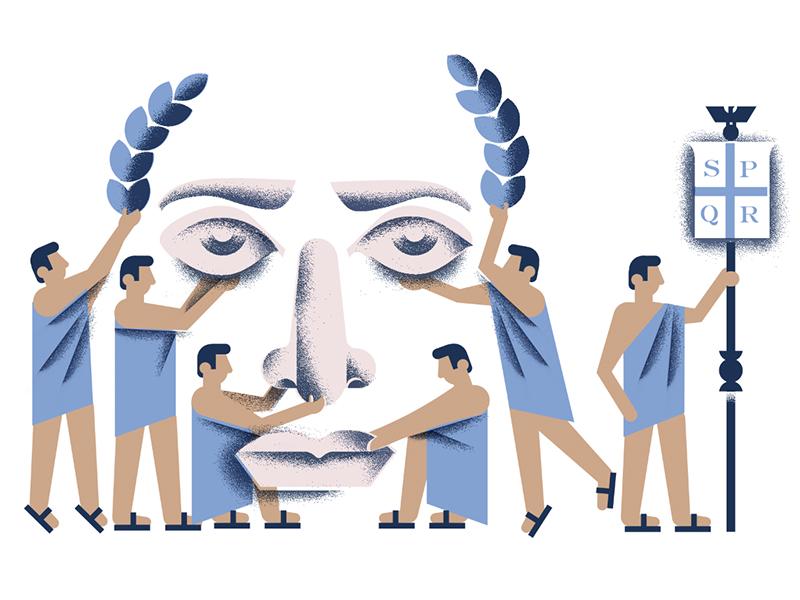 Citizens United statue spqr greek emperor people rome illustration