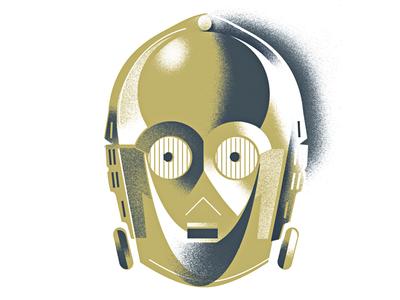 Threepio portrait fan-art star-wars robot threepio c3po droid