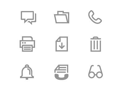 Basicons glasses phone folder trashcan printer illustration graphic-design icon-design icon icons