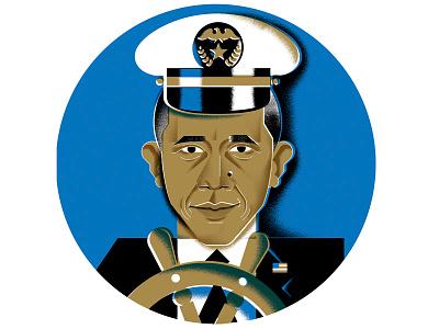 'Bama editorial wwd-magazine captain bama obama president portrait illustration
