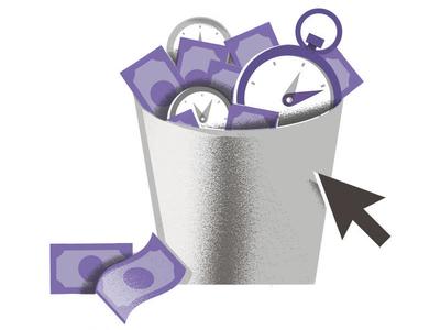 Wastin' Time techstars huboard money clock trash-can waste trash time illustration