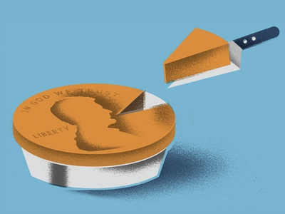 Makes Cents percentage taxes pie cents penny bank money illustration
