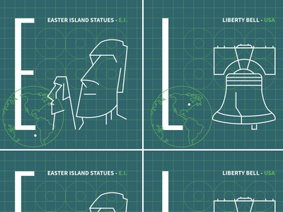 My First Game Design liberty-bell easter-island game-tiles tiles graphic-design icons illustration game-design