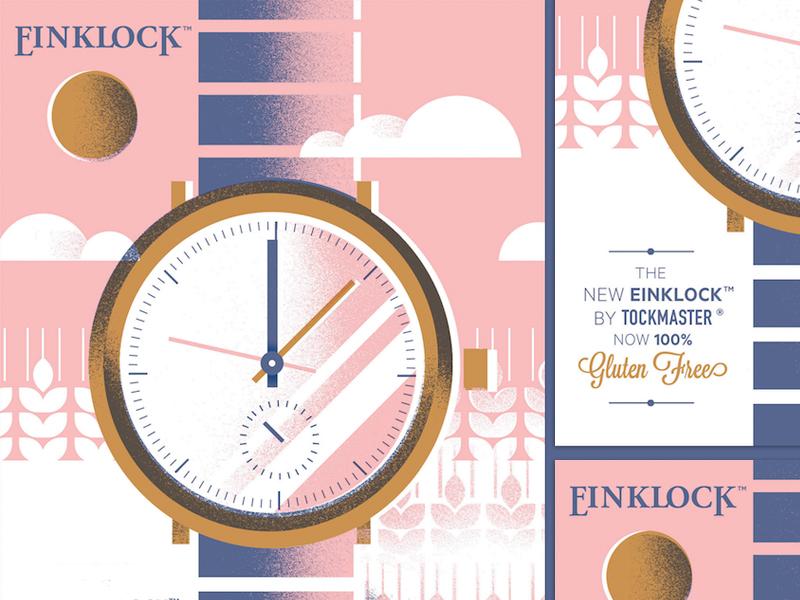 Einklock neu-jorker texture wheat gluten-free clock geometric advertisement illustration