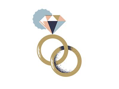 Twu Wuv love grain texture geometric illustration engagement-ring engagement wedding-ring wedding marriage ring