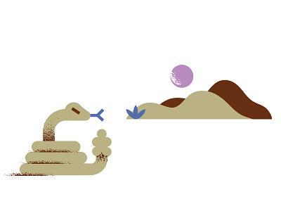 Arid Vibes (2) sand rattle-snake geometric illustration sand-dunes dunes snake desert