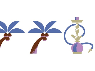 Arid Vibes (3) sand arid geometric illustration palm-tree palms hookah desert
