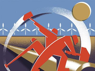 A World at War (4) editorial-illustration wwii propaganda windmills proletariat hammer workers illustration