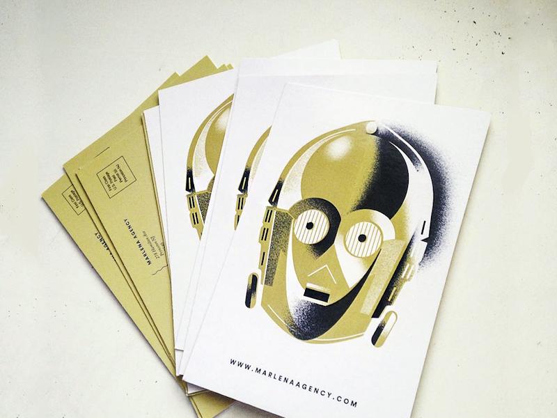 C3P0 - promo cards robot illustration post-cards promo star-wars c3p0