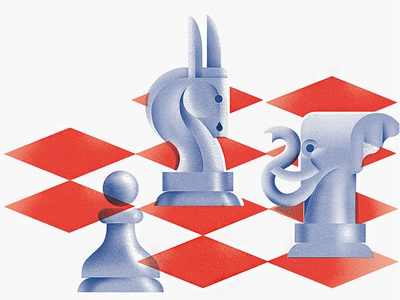 The Game game pawn donkey elephant republican democrat politics voting chess illustration editorial-illustration