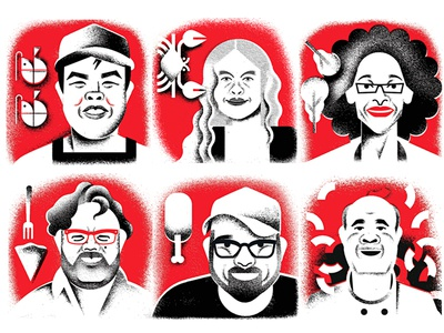 Chefs à la carte illustration editorial publication magazine character faces cooking chef portraits portrait