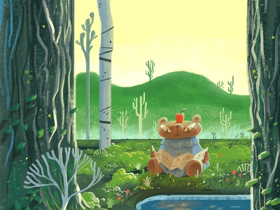 Checking the Map background-design forest bear vis-dev visual-developement cartoon character photoshop digital-painting