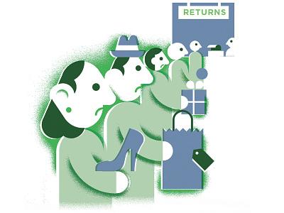 Returns grain geometric illustration shopping holiday consumer store return-policy return returns