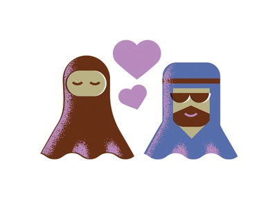 Dubai Cuties grain illustration couple arabic love dubai