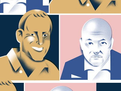 CEO faces grain illustration face portrait