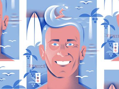 Surf's Up, Brah! venice beach waves surfing surfer grain illustration face portrait