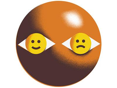 The Visionary (2) smiley-face facial-recognition editorial-illustration eye-balls eye-ball eye binary computer-vision