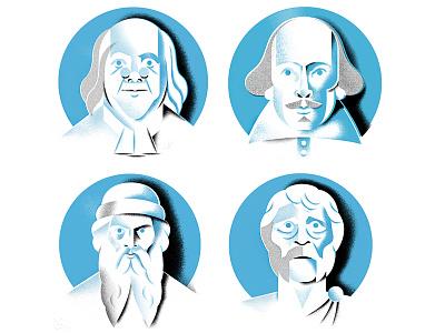 Thinkers socrates benjamin-franklin shakespeare portrait face portraits