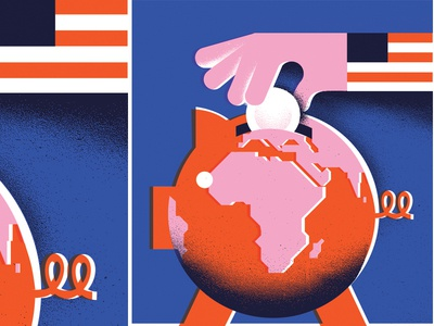 Foreign Aid editorial-illustration globe america flag politics political banking bank investment foreign-aid piggy-bank pig