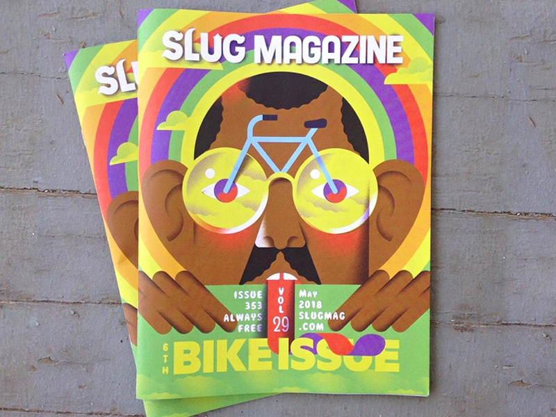 Slug Magazine Cover slug-magazine slug-mag editorial-illustration illustration rainbow glasses psychedelic bike-issue bike magazine cover