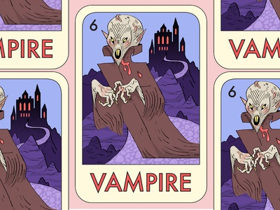 Fantasy Forest cartooning board-game card mystic-grandpa vampire character-design