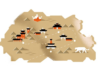 Bhutan for GQ meditate monk tiger buildings travel magazine gq editorial illustration illustration map