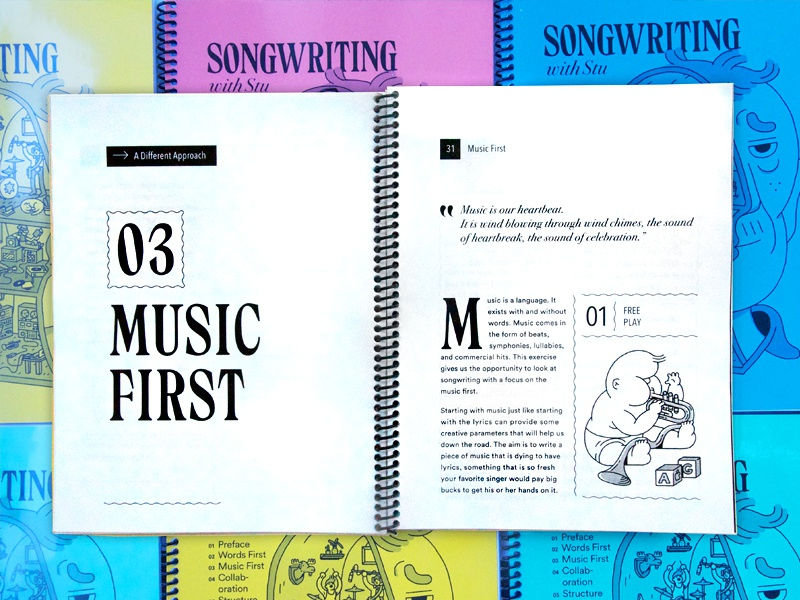 Songwriting with Stu (2) music songs songwriting illustration typographic design typography book design book