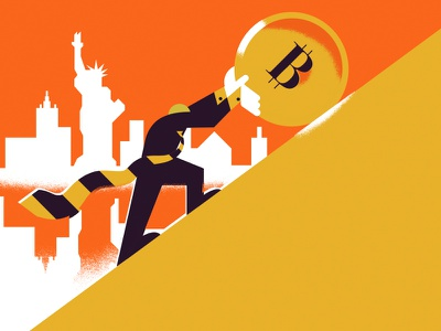 The Crypto Conundrum real estate financial money editorial illustration illuatration new york crypto currency bitcoin