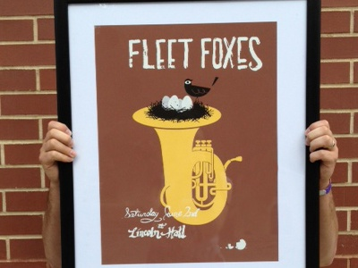 Fleet Foxes Poster (silkscreen) fleet foxes tuba bird hand-done type illustration