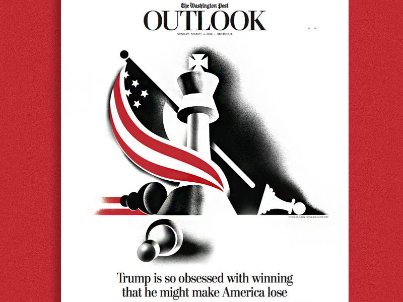 the Washington Post check mate nationalism flag america king chess illustration newspaper washington post editorial illustration