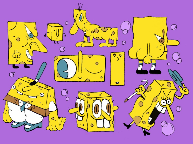 Square-Bob drawing illustration cartoon character cartoons cartoon sponge bob spongebob