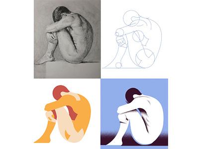 Process Pose sadness sad human grain figure drawing illustration editorial illustration