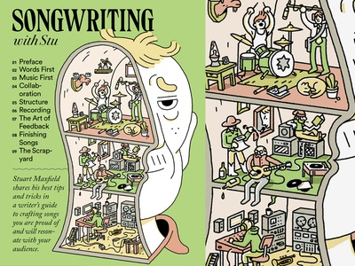 Songwriting with Stu (cover) typography drawing editorial illustration illustration cover cartooning cartoons