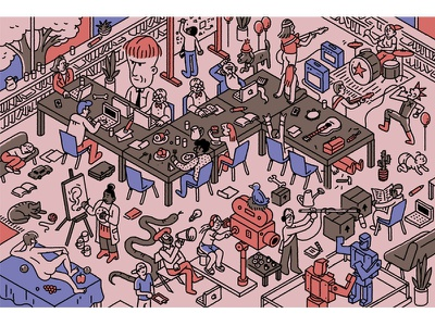 Ideal Workplace isometric illustration office rock and roll cartooning cartoons workplace
