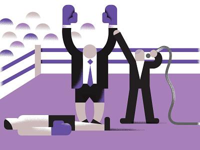 WINNER! editorial illustration business men wrestling grain geometric illustration