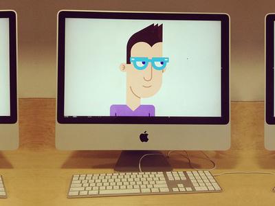 Character Design (2) geometric illustration vector glasses v-neck character design guy apple products