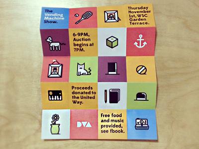 Vending Machine Show Poster geometric animals anchor tophat sketchbook icons plant dog cat polaroid dva byu