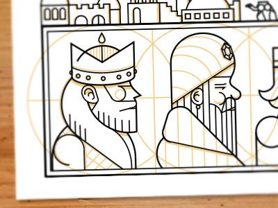 2.3 Kings christmas card vector illustration geometric 2color jerusalem camel 3 kings we three kings wisemen