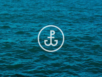 PW Anchor logo icon sea sail initials monogram water