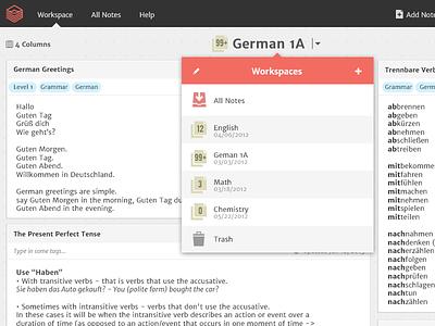 Workspace interface ui