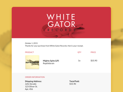 Daily UI #017 - Email Receipt album record store email receipt dailyui daily ui