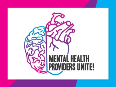 Logo for Mental Health Providers Unite! mental health brand identity activism political therapist resist heart brain gradient vector branding logo