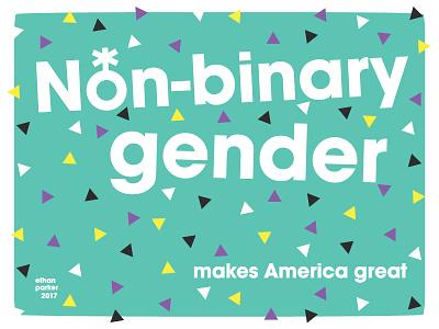 Non-binary Gender Poster nonbinary gender poster design portland transgender queer genderqueer non-binary vector flat poster