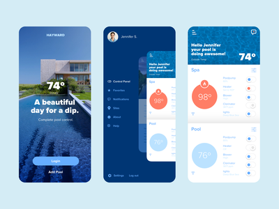Pool App spa water toggle settings heat control degrees navigation menu login in application android ios blue product app pool hayward