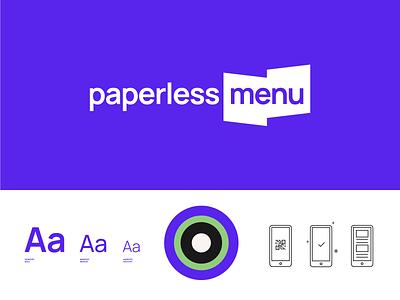 Paperless Menu Brand digital resturants covid icon typography manrope color design logo branding purple menu paperless