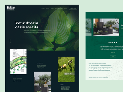 Landscaper Comp slider video sustainability reviews navigation footer oasis lawnmower foliage outdoors green grass leaf homepage webdesign website landscaping