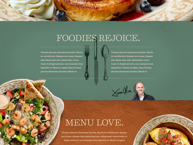 Foodies Rejoice. food restaurant homepage breakfast overhead scrolling page copper signature utensils